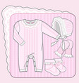 knitted collection for a newborn girl pink vector image vector image