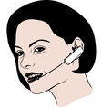 Lady talking on headphone vector image