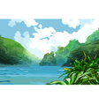 landscape beautiful bay among green mountains vector image