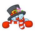 little cute smiling snowman cartoon vector image