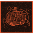 Ornated pumpkin stylized Halloween card vector image