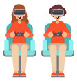 people play games with vr glasses at home vector image vector image