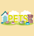pets with dogs house cat parrot bowls with food vector image vector image