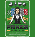 poker tournament retro poster with female croupier vector image