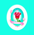 romantic greeting card with rose vector image