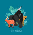 save jungle vector image
