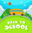 Schoolbus riding on the road vector image vector image