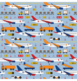 seamless pattern with airplanes and airport vector image