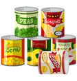 set of canned foods vector image