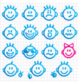 set of faces with various emot vector image vector image