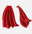 Set of red cloaks flowing silk fabrics