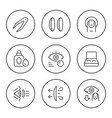 set round line icons contact lenses vector image vector image