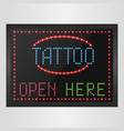 shining retro light banner tattoo open here vector image vector image