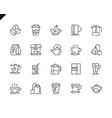 simple set coffee and tea line icons for website vector image