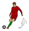 soccer player in action shooting a goal vector image vector image
