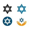 Star of David logo Judaism or Jewish set vector image vector image
