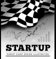 startup concept with checkered start flag and vector image