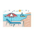 summer scenery with sunlounger cocktail vector image