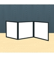 Threefold brochure realistic mockup on the wooden vector image vector image