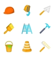 Tools icons set cartoon style vector image vector image