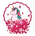 unicorn round icon vector image