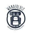 white background wanderlust logo camping bag vector image