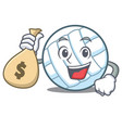 with money bag volley ball character cartoon vector image vector image