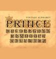 word prince set vintage alphabet letters vector image