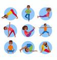 yoga kids poses set vector image vector image