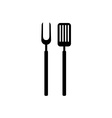 BBQ barbeque tools black simple silhouette Meat vector image