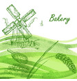 bakery set hand drawn windmill wheat grain with vector image