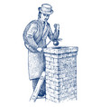 bricklayer or man builder on rohouse vector image vector image