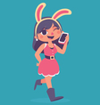 Bunny Girl Walking and Talking on the Phone vector image vector image