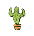 cactus show muscle biceps color cartoon vector image vector image
