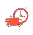 cartoon delivery truck 24h icon in comic style 24 vector image vector image