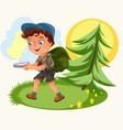 cartoon kids following compass in forest vector image