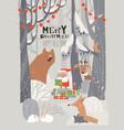 cartoon santa claus with animals in winter vector image vector image