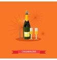 Champagne bottle and two glasses flat design vector image