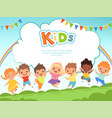 children jumping background happy kids playing vector image vector image