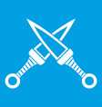 crossed japanese daggers icon white vector image vector image