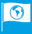 flag with world planet icon white vector image
