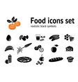 Food icons set Fish cake mushrooms honey vector image vector image