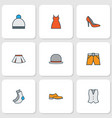 garment icons colored line set with waistcoat vector image vector image