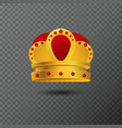 golden crown icon with red stones luxury vector image vector image