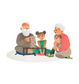 grandparents playing games with grandchildren flat vector image