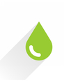 Green color drop icon with gray long shadow vector image