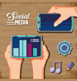 hands with social media set icons in wooden vector image vector image