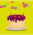 happy birthday celebration card with sweet cake vector image vector image