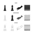isolated object of checkmate and thin logo set of vector image