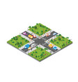 isometric crossroads intersection streets vector image vector image